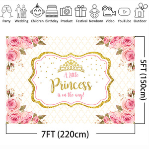 Image 3 - Mehofoto Baby Shower Photo Backdrop for Photography Little Princess Newborn Flower Background Gold Crown Birthday Party Booth