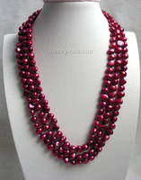 10x10 Jewelry Free Shipping 16 Baroque 3row Wine Red Freshwater Pearls Necklace