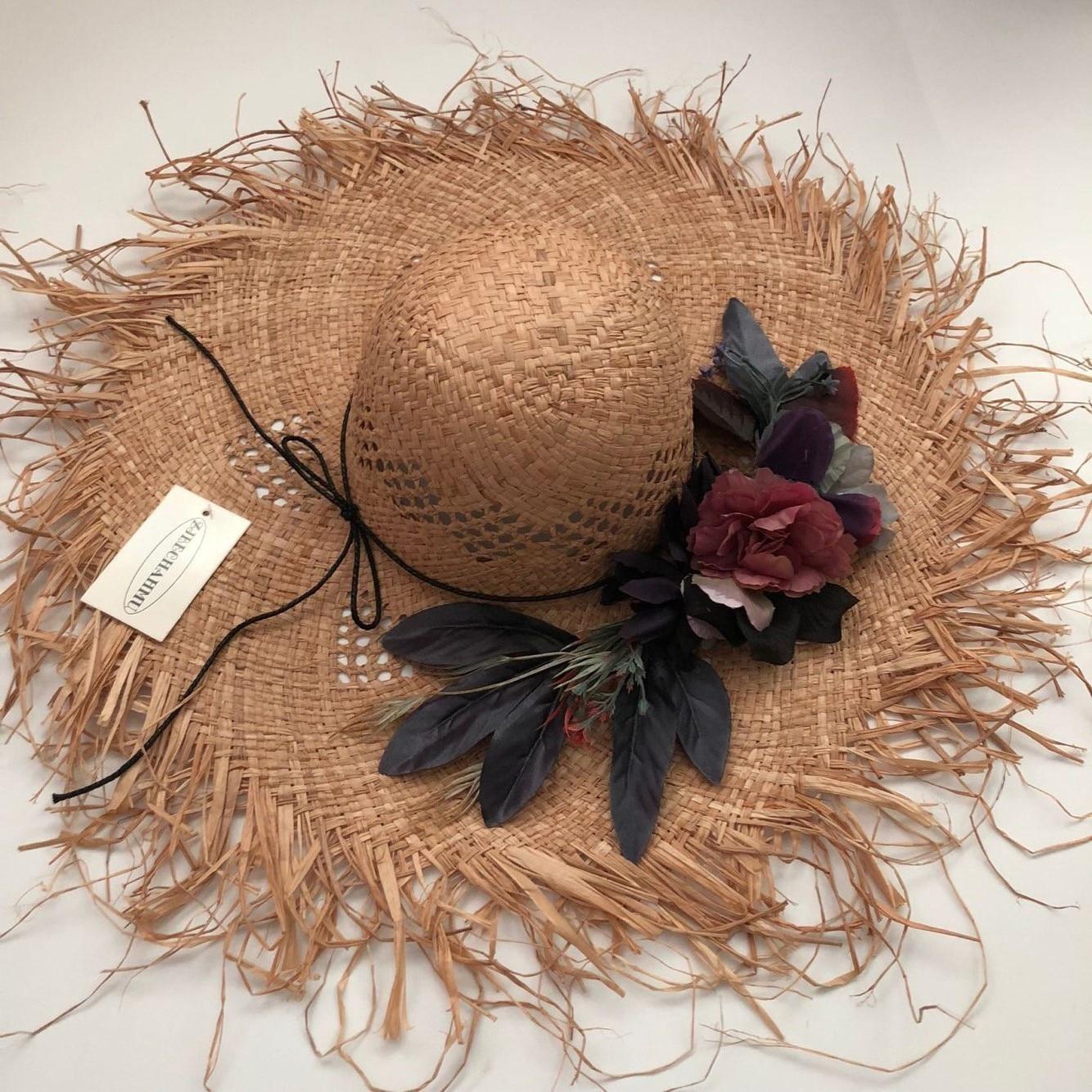 ZJBECHAHMU Fashion Solid Vintage Floral Straw Sun Hats For Women Girl Summer Caps Big Sunshade Beach Hat 2019 New Accessories