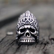 Navajo Chief Indian Style Skull Rings Mens Vintage Stainless Steel Ring Wild West Rock Bikers Jewelry