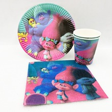 40p/set Trolls Birthday Party Supplies Plates Cup Napkin Tableware Baby Shower Festival Favors Decoration