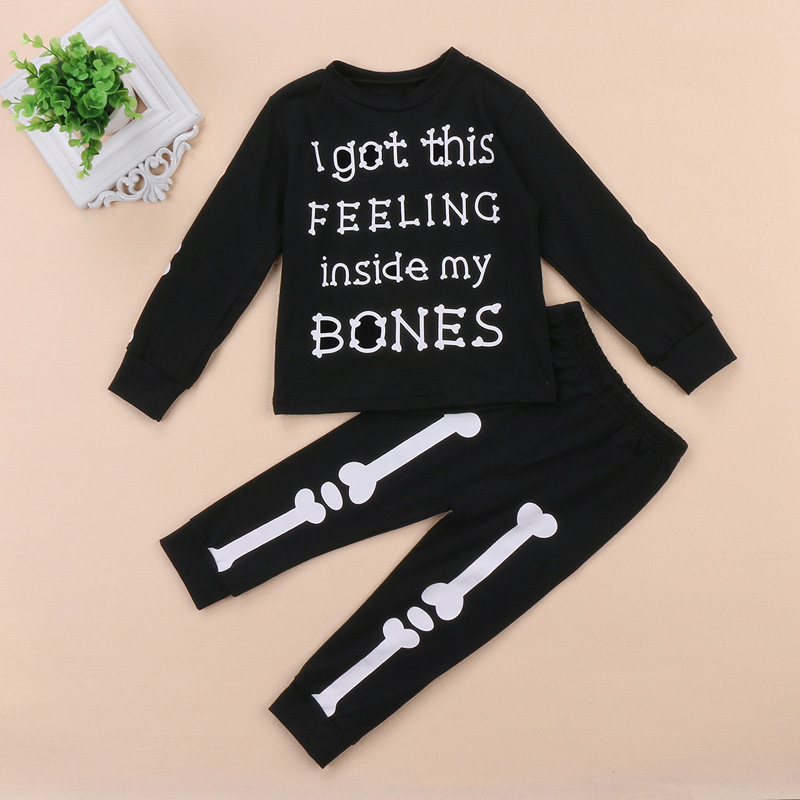 New Fashion Toddler Kids Baby Boy Girl Clothes Print Long Sleeve T-shirt+Pants Leggings Halloween Outfits Set
