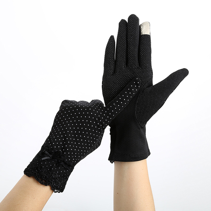 Sexy Female Summer UV Sunscreen Cotton Short Sun Gloves Women Fashion Flowers Knitted Lace Driving Touch Screen Thin Gloves C53