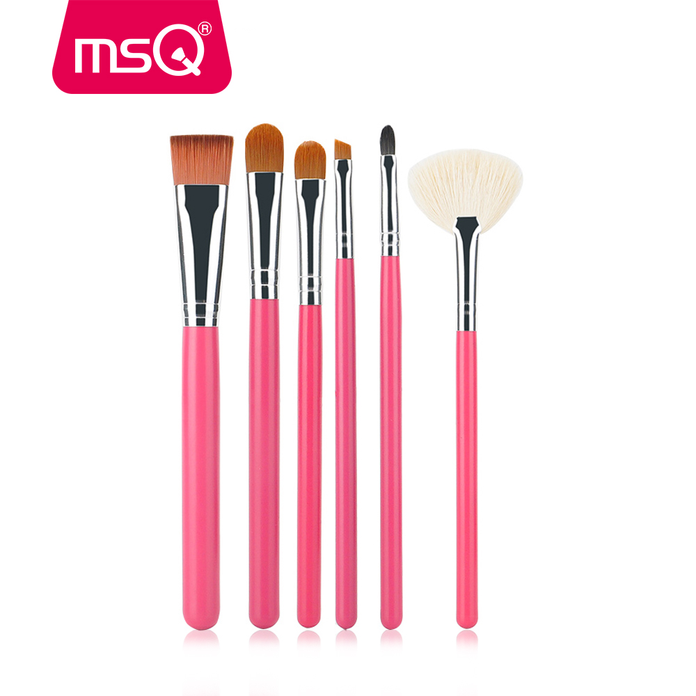 MSQ 6pcs Makeup Brushes Set Foundation Blending Eyebrow Fan Make Up Brushes Cosmetics Beauty Tool 35000r import permanent makeup machine best tattoo makeup eyebrow lips machine pen