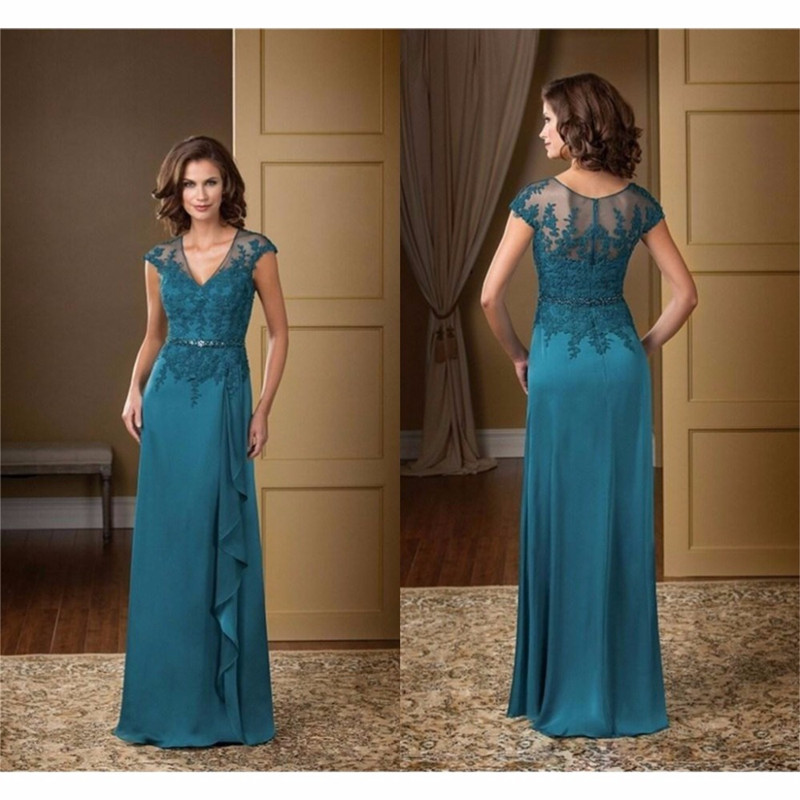Elegant V Neck Cap Sleeve Mother Of The Bride Dresses Chiffon Appliques Mother Gown Plus Size