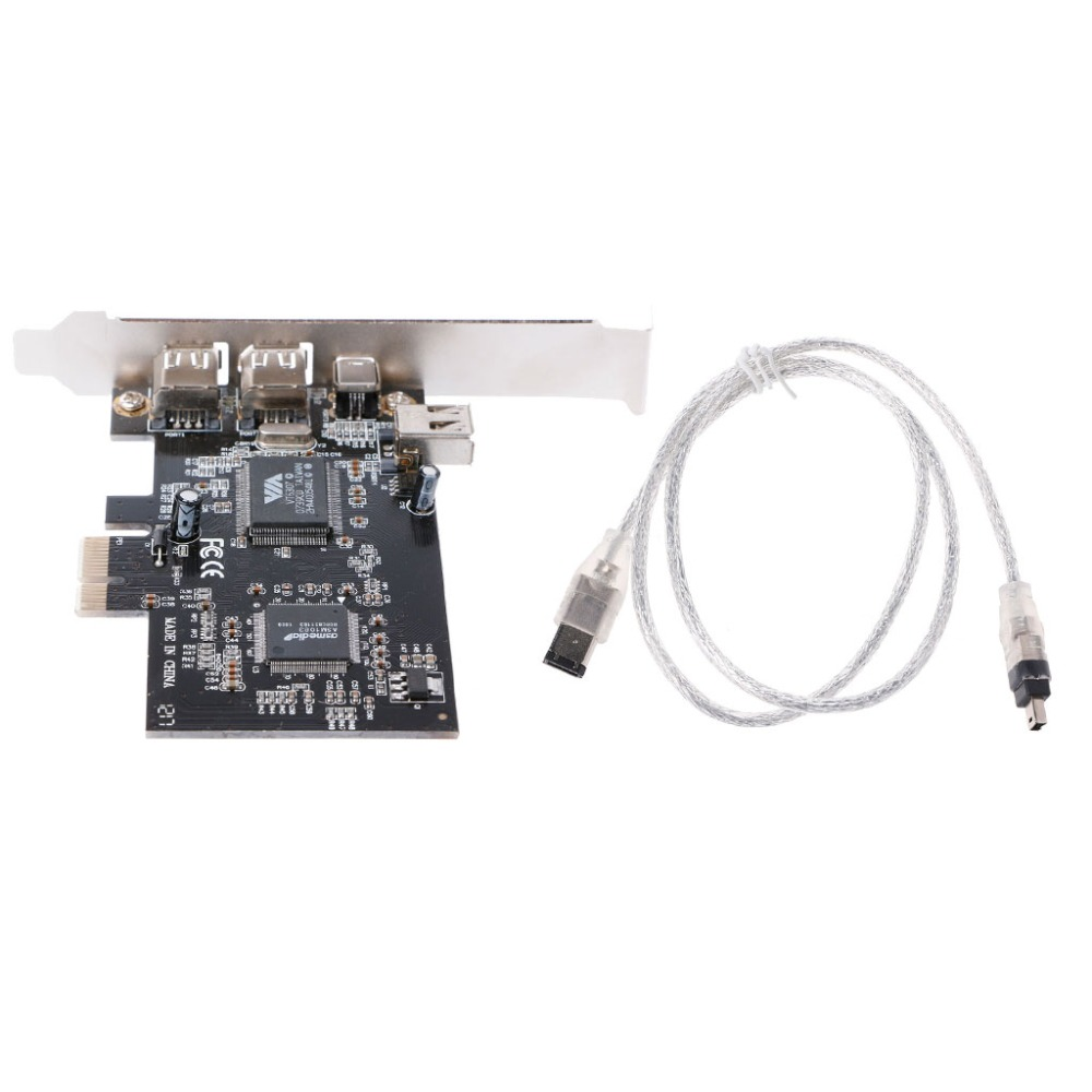 1 Set <font><b>PCI</b></font>-e 1X <font><b>IEEE</b></font> 1394A 4 Port(3+1) Firewire Card Adapter With 6 Pin To 4 Pin <font><b>IEEE</b></font> <font><b>1394</b></font> Cable For Desktop PC High Quality C26 image