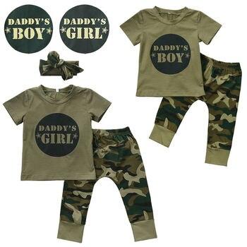 2018 Newborn Toddler Infant Baby Boy Gir Short Camo Letter T-shirt Tops Long Pants Leggings Outfits Set Clothes 0-24M costumi moda 2019