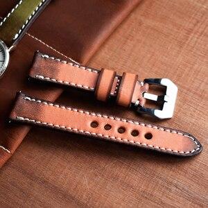 Image 5 - Onthelevel Correa de reloj de cuero genuino estilo Vintage, correa de cuero de 20 a 22mm, banda de reloj rojo amarillo, naranja y verde para Panerai # C