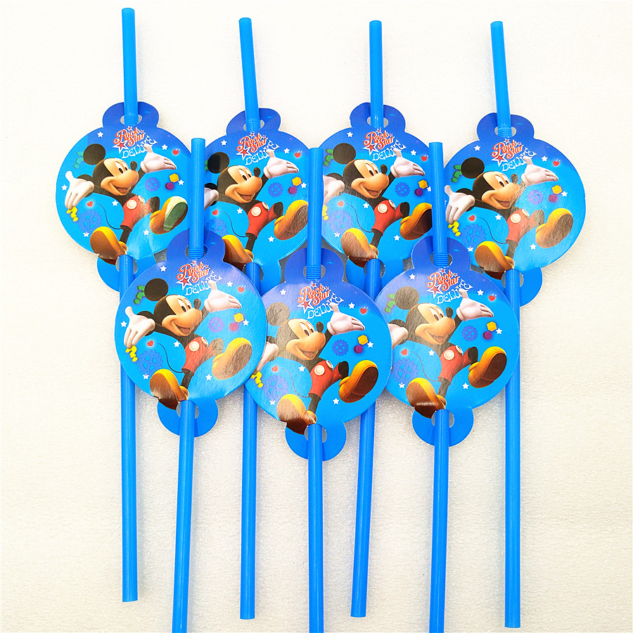 24 MICKEY MOUSE PLASTIC STRAWS ~ Disney Birthday Party Supplies Favors Drink