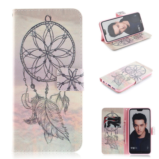 Flip Cover Wallet For Huawei Honor 9i/Honor Play Case Leather Phone Bag Sexy girl Cartoon letters Animal Skin Fundas Coque Stand