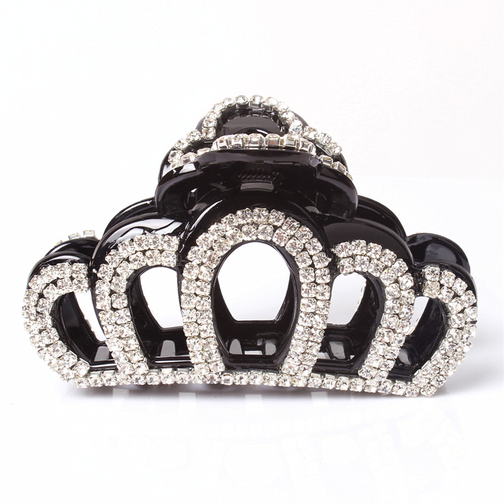 Korean Style Hollow Crown Black Vintage Hair Comb Hand Work Plastic Ponyholder AB White Rhinestone Hair Claw AB04