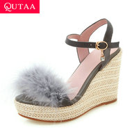 QUTAA 2019 Women Sandals Sexy Platform Straw Weaving Wedge Heel Feather Round Open toed Buckle Slingback Ladies Shoes Size 34 39