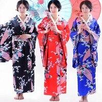 Women S Traditional Japanese Kimono Robe Yukata Elegant Floral Pattern Kimono Cosplay Dress With Deluxe Obi