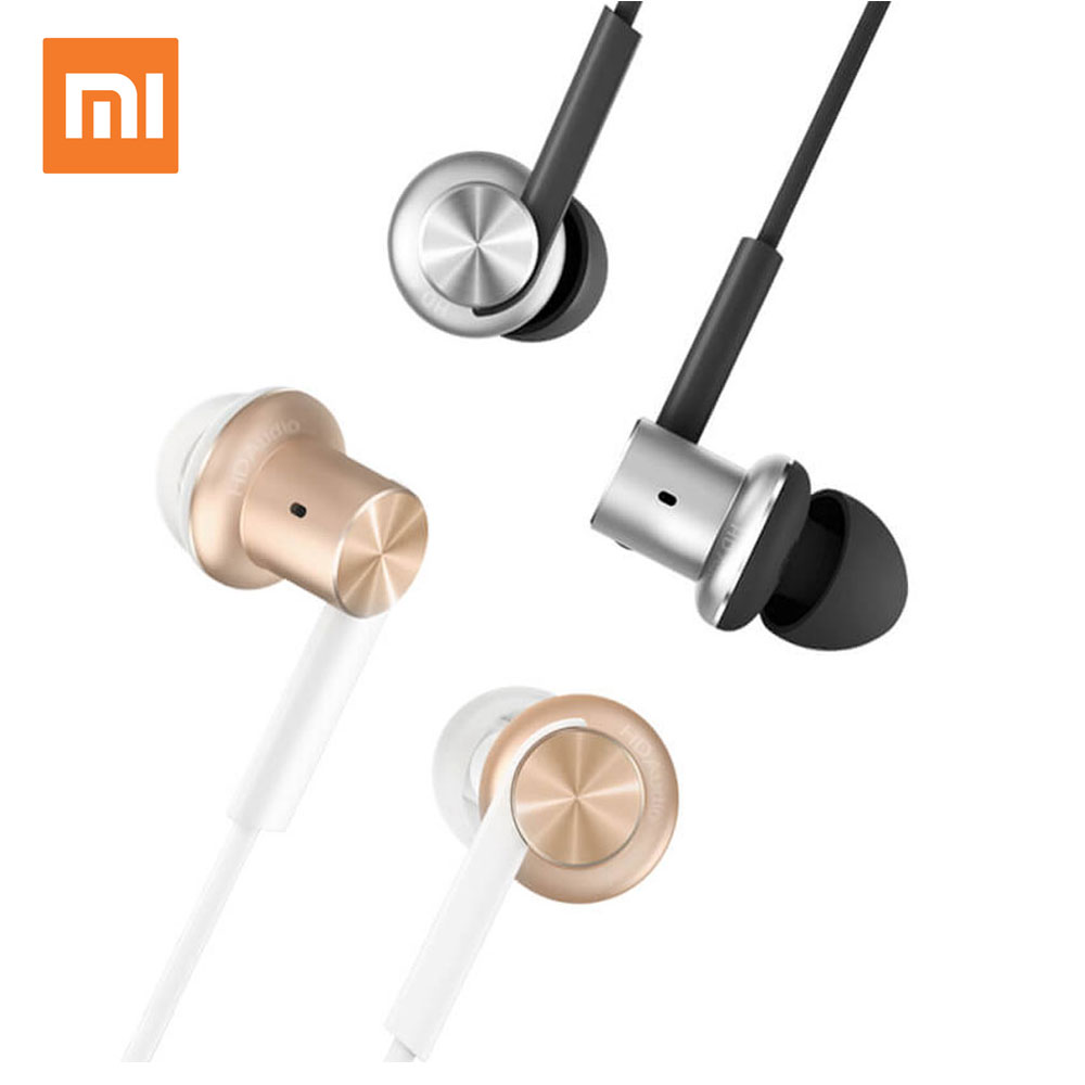 Mi Xiaomi Hybrid In-Ear Stereo Earphones With Mic Earphone Silver Gold For Android iOS For MP3 PC original mi piston 3 earphone basic edition microphone flat wire stereo in ear headsets with mic for xiaomi android ios mp3 pc