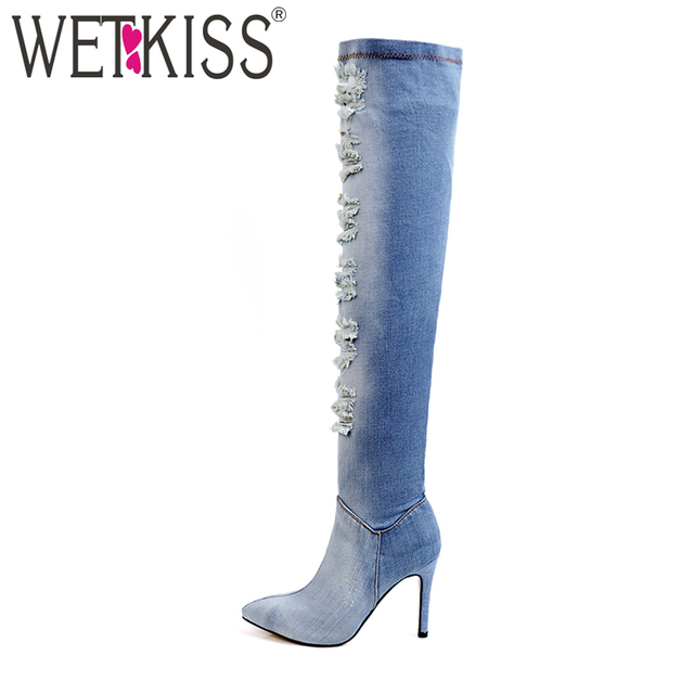 WETKISS 2018 Sexy Ladies Denim ... Over the Knee Stiefel High Heels ... Denim 30f2b0
