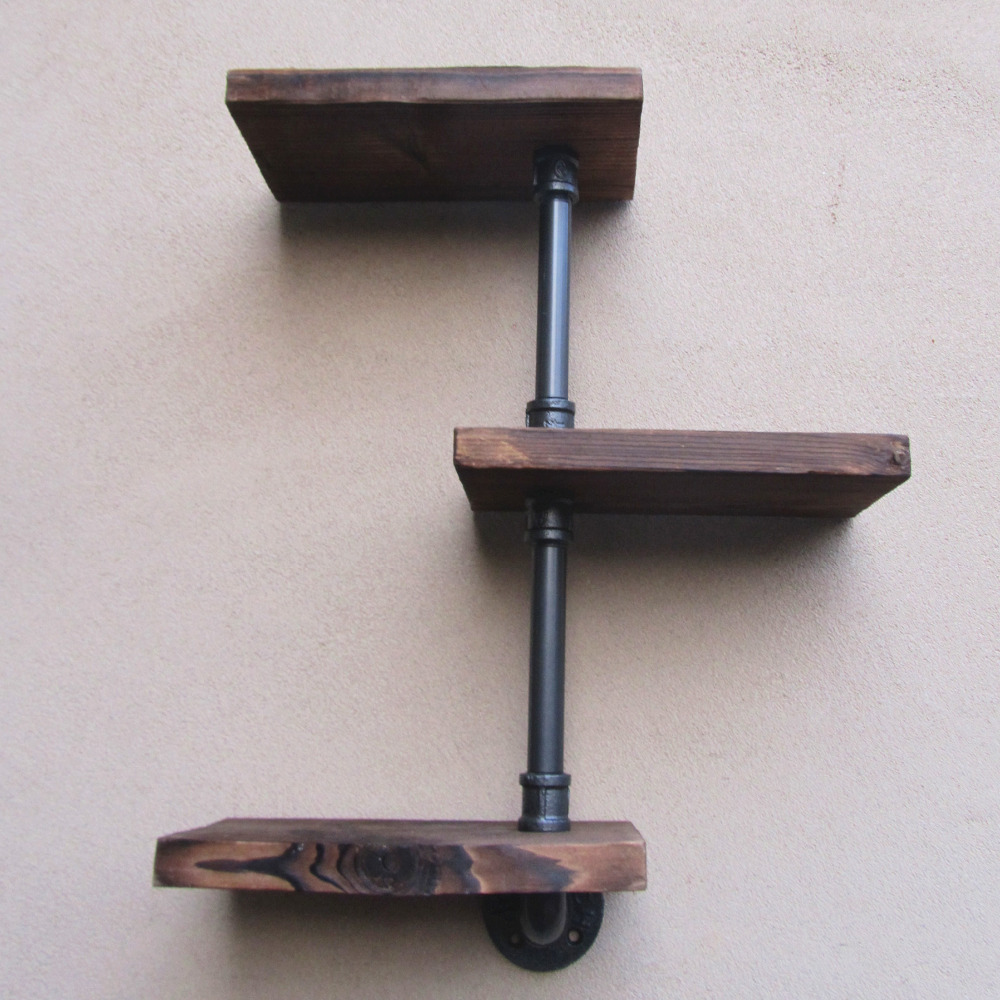Industrial Rustic Urban Iron Pipe Wall Shelf 3 Tiers Wooden Board