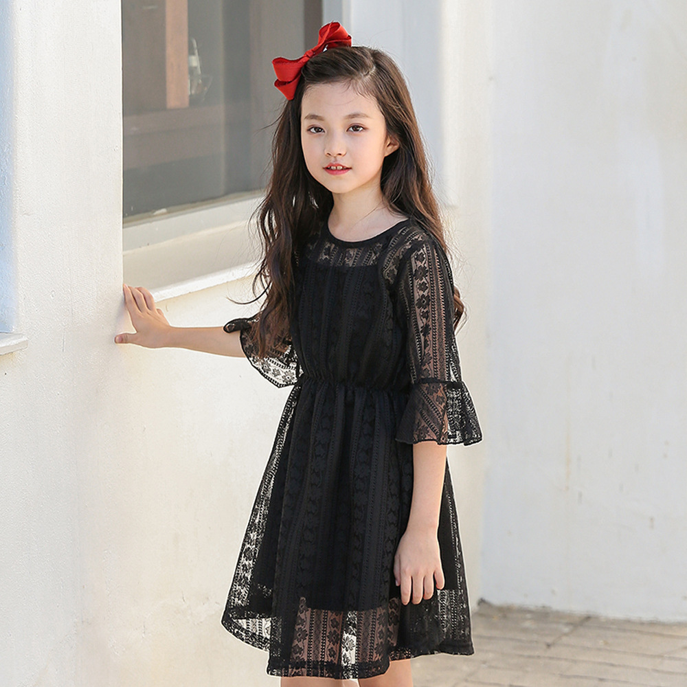 Summer Children's Princess Lace Dress 2018 Teens Girl Speaker Sleeve Dress Teenager Kids Clothing Half Sleeve Dress+Vest 2pcs lace contrast sleeve hanky hem dress