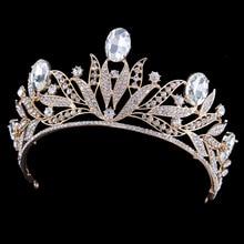 Свадебные Кристалл Тиара Коронки Принцесса Королева Pageant Пром Тиара Свадебные Аксессуары Головной Убор Оголовье