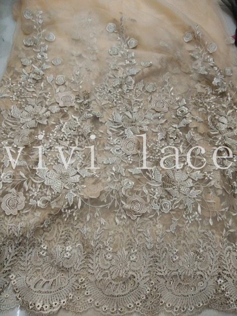 Promotion XH819 Gold Embroidery Mesh French Lace Fabric For Wedding Dress/evening  Dress,ship