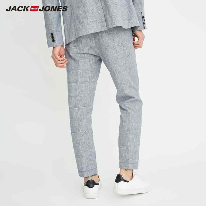 JackJones ผู้ชายฝ้ายและผ้าลินิน Casual Checked กางเกง E   218214503
