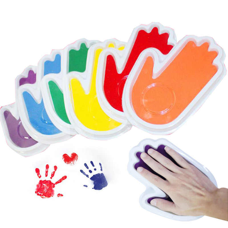 Baby footprint Non-Toxic baby present Handprint Imprint Kit Baby Souvenirs Casting Newborn Footprint Ink Pad Infant Clay Toy