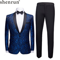 Shenrun Men Tuxedos Floral Pattern Casual Blazer Suit Jacket Black Pants Wedding Suits For Man Party Prom Male Stage Costumes