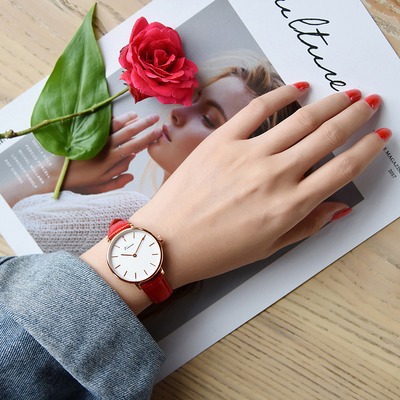 VINOCE Luxury Brand Quartz Watch Women Red Genuine Leather Strap Women Fashion Watches Relogio Feminino 2018 Ladies Watch #9636 relogio feminino sinobi watches women fashion leather strap japan quartz wrist watch for women ladies luxury brand wristwatch