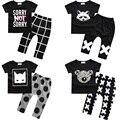 $ Number Piezas de Ropa de algodón Bebé de Los Muchachos Arropa Sistemas Niños Traje Camisetas Negras Haren Pantalones babywear