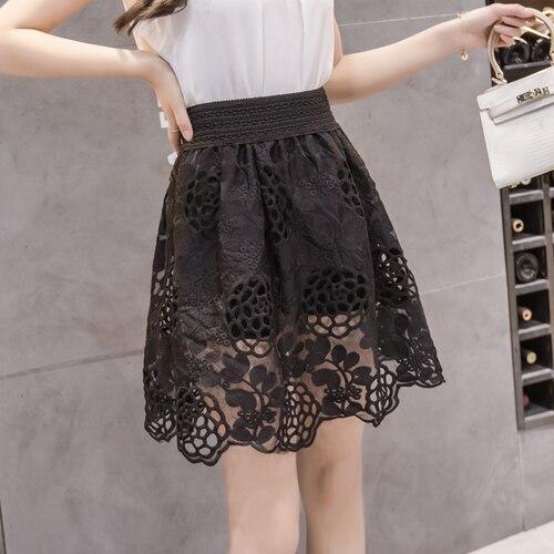 c1b140d4b5be TingYiLi Korean Cute Lace Skirt School Girl Short Skirt Summer Vintage A-line  Black Skirt