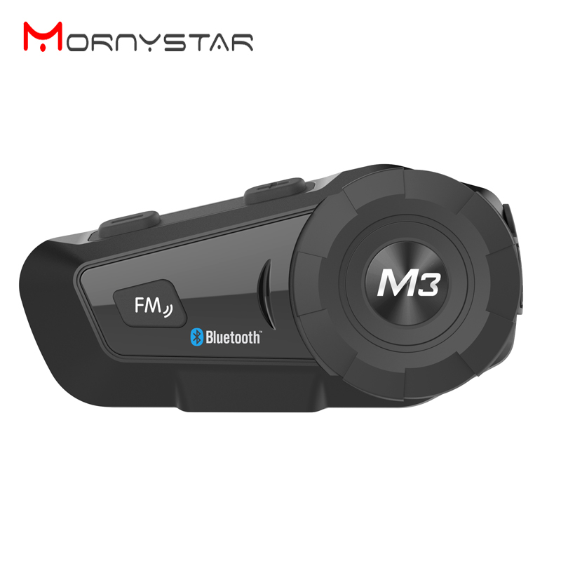 MORNYSTAR M3 Plus Intercom Motorcycle Helmet Headset Waterproof Wireless Bluetooth BT Interphone FM Radio Stereo Music
