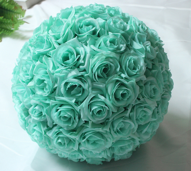 Sale12 25cm mint green flowers rose kissing balls pomanders artificial silk flower ball centerpieces for wedding decorations in artificial dried sale12 25cm mint green flowers rose kissing balls pomanders artificial silk flower mightylinksfo