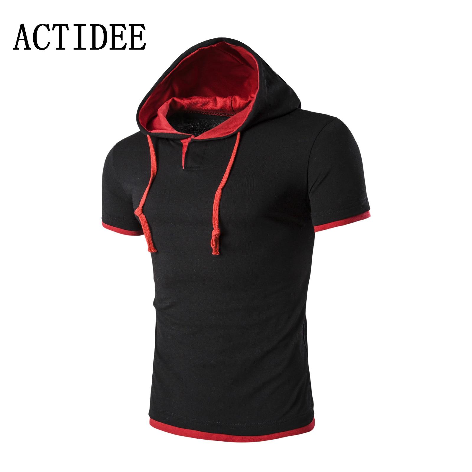 Desain t shirt unik - 2017 Merek Hoody T Shirt Pria Berkerudung Desain Unik Pria Lengan Pendek Katun Tee Kemeja Kasual