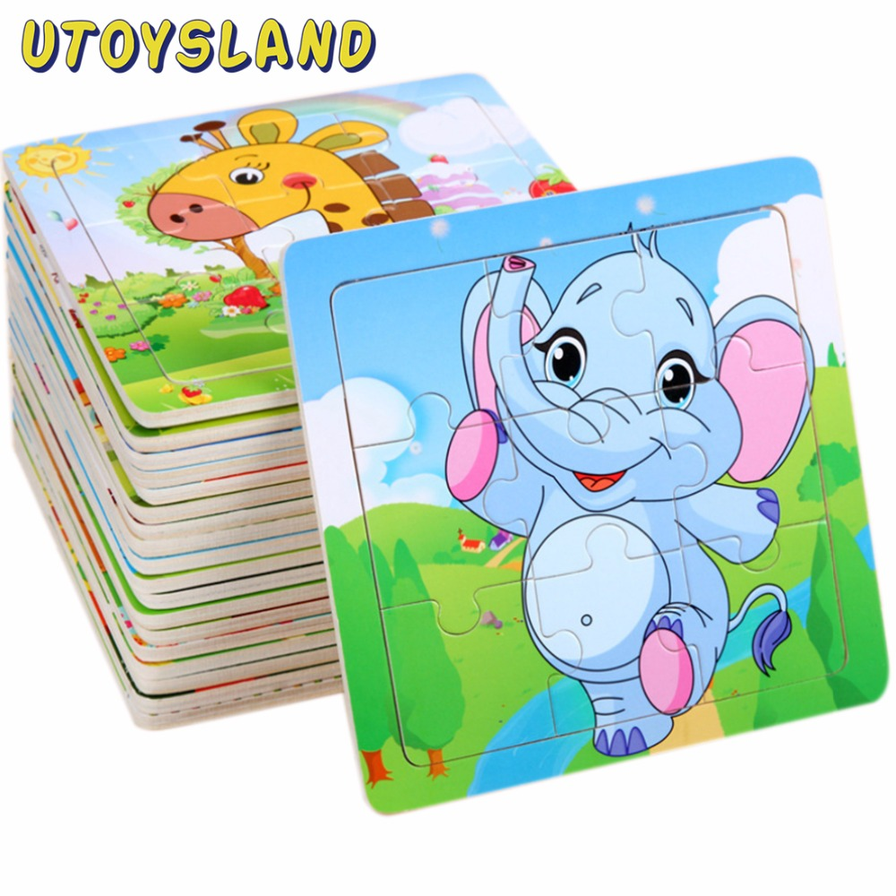 UTOYSLAND Wooden Puzzle Jigsaw Wooden Toys For Children Cartoon Animal Puzzles Intelligence Kids Educational Toy for Children