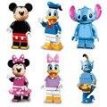 Os mais recentes desenhos animados mini mickey mouse minnie ponto pato donald daisy aladdin genie figura toy building block compatível com lego