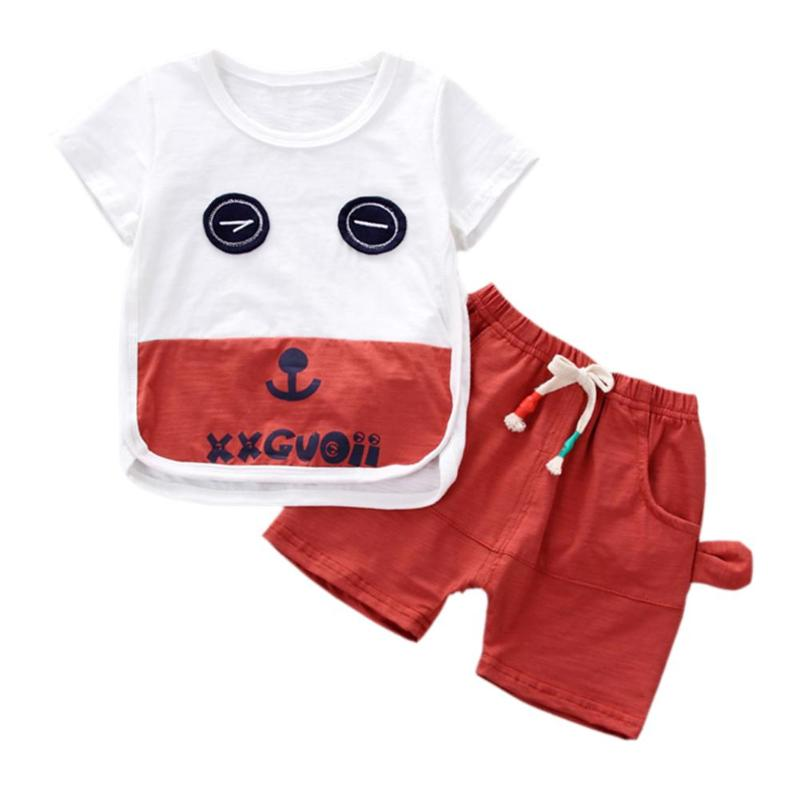 2pcs Summer Boys Clothing Sets Cartoon Cute Eyes Kids Short Sleeve T-shirt Shorts Sports Drawstring Costume Baby Boys Clothes