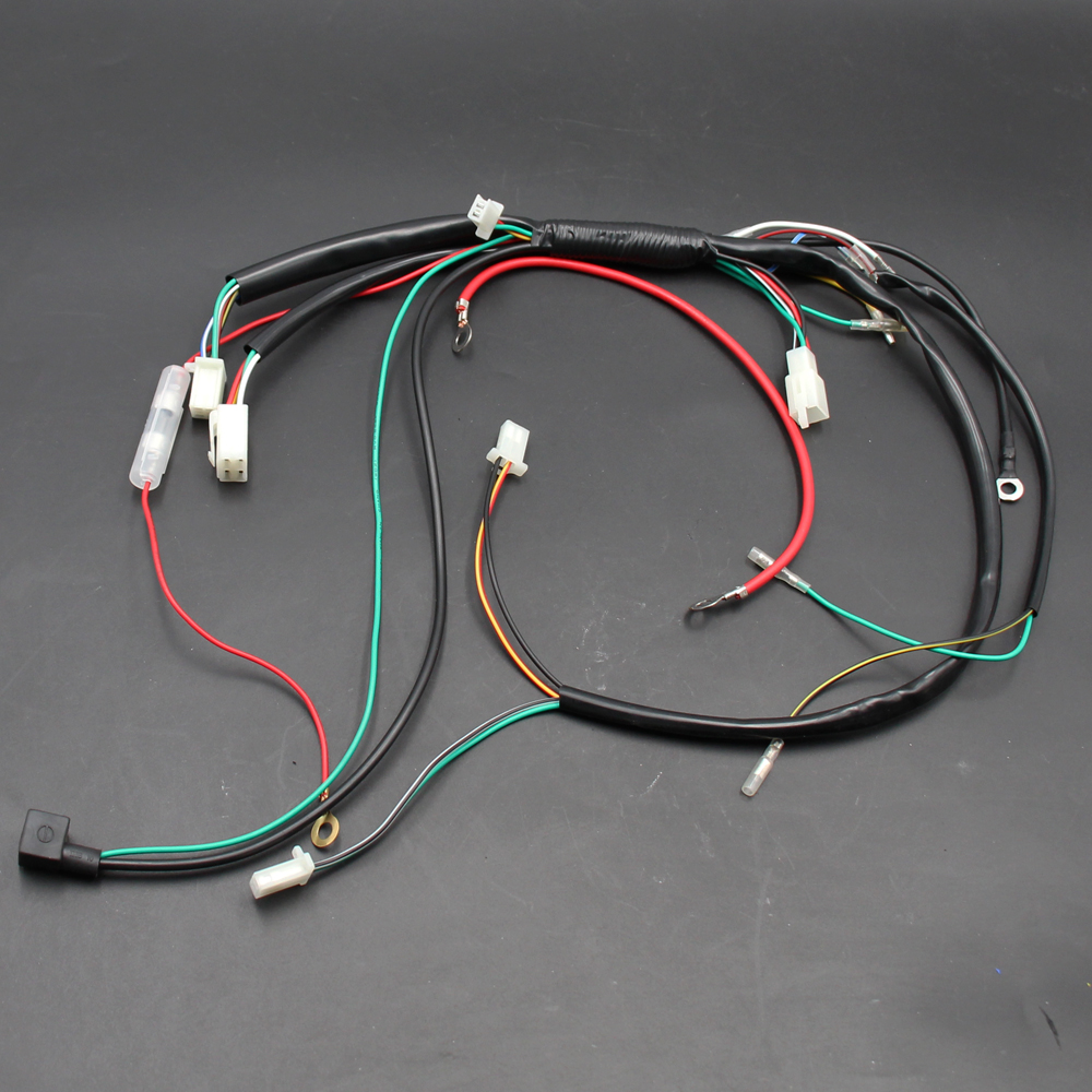 ELECTRIC WIRE WIRING HARNESS CDI COIL Relay Spark Plug Kill Switch ASSEMBLY FOR 50 70 90 110CC 125CC ATV QUAD BUGGY E Moto In Motorbike Ingition From