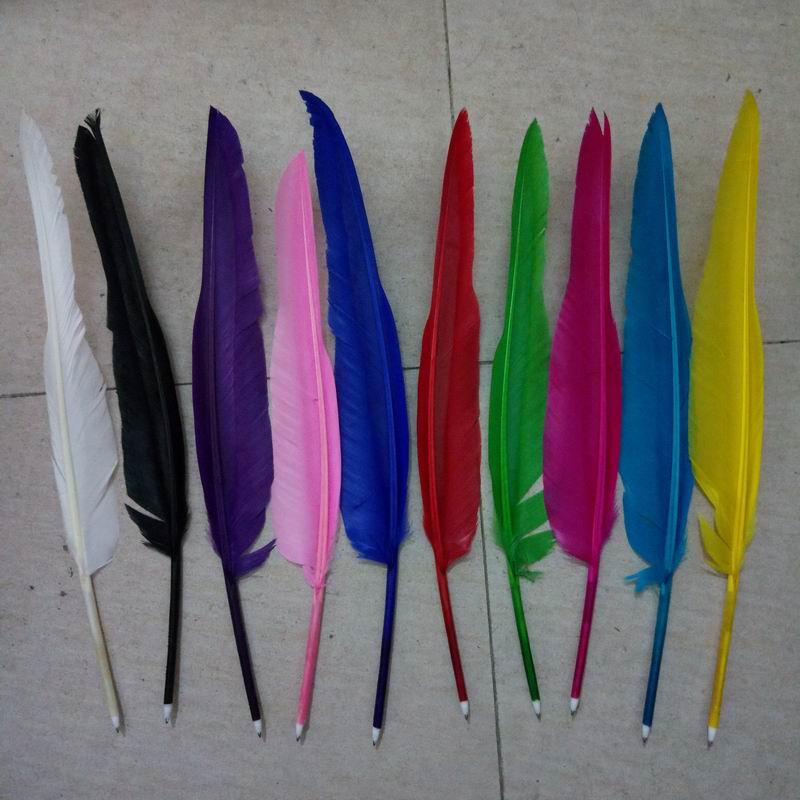 500 pcs/lots au hasard feuille décorer populaire plume d'oie stylo à bille pour les filles