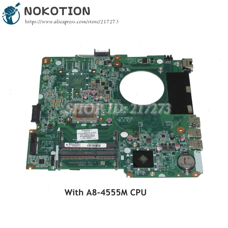 NOKOTION DA0U92MB6D0 736822-501 736822-001 739659-501 Laptop Motherboard For HP Pavilion 14-N MAIN BOARD A8-4555M CPU DDR3 762526 501 main board for hp pavilion 15 p day22amb6e0 laptop motherboard ddr3 am8 cpu