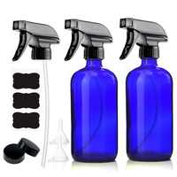 2pcs 500ml Empty Blue Glass Spray Bottle with Mist & Stream Trigger Sprayer for Essential Oils Cleaning Product 16 Oz Refillable