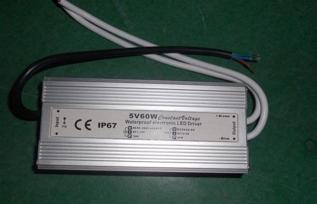 waterproof led power supply;AC90-250V input; 5V/60W output;IP68;CE and ROHS;