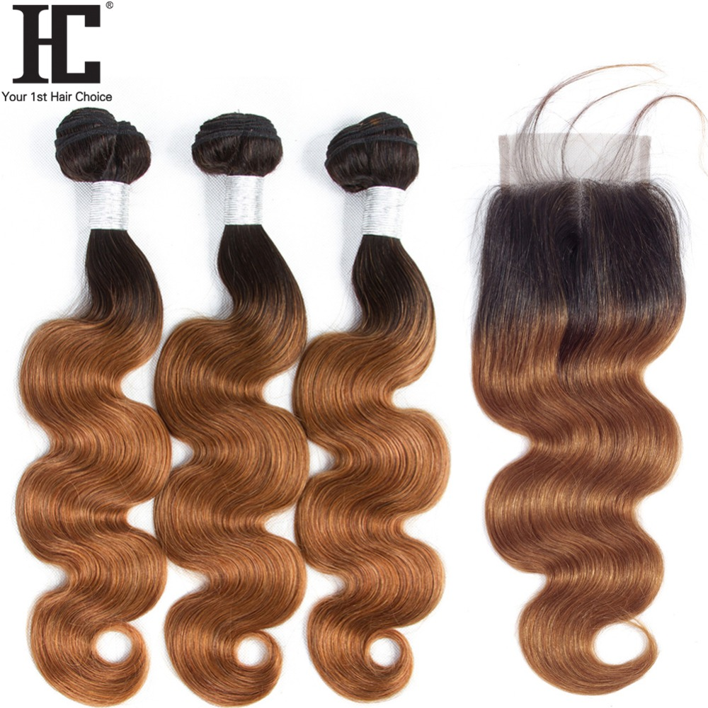 HC Peruvian Hair Weave 3 Bundles With Lace Closure 1B/30 Ombre Dark Blonde Non Remy Body Wave Human Hair Bundles With Closure