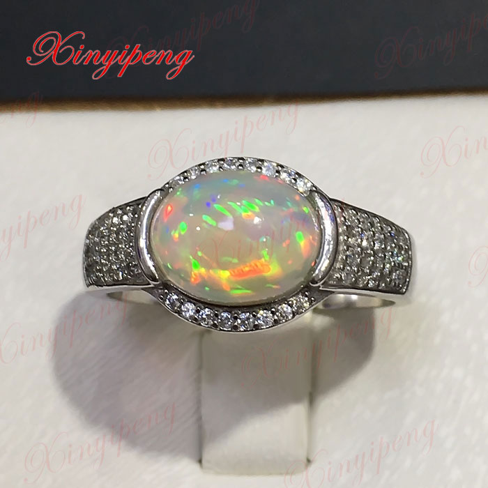 925 sterling silver with 100% natural opal ring women to quit Colored gems Beautiful color twelve gems