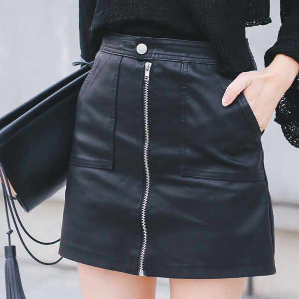 2018 秋冬の女性のスカート Pu レザーセクシーなミニスカートポケットジッパー A ラインパッケージヒップハイウエスト女性服