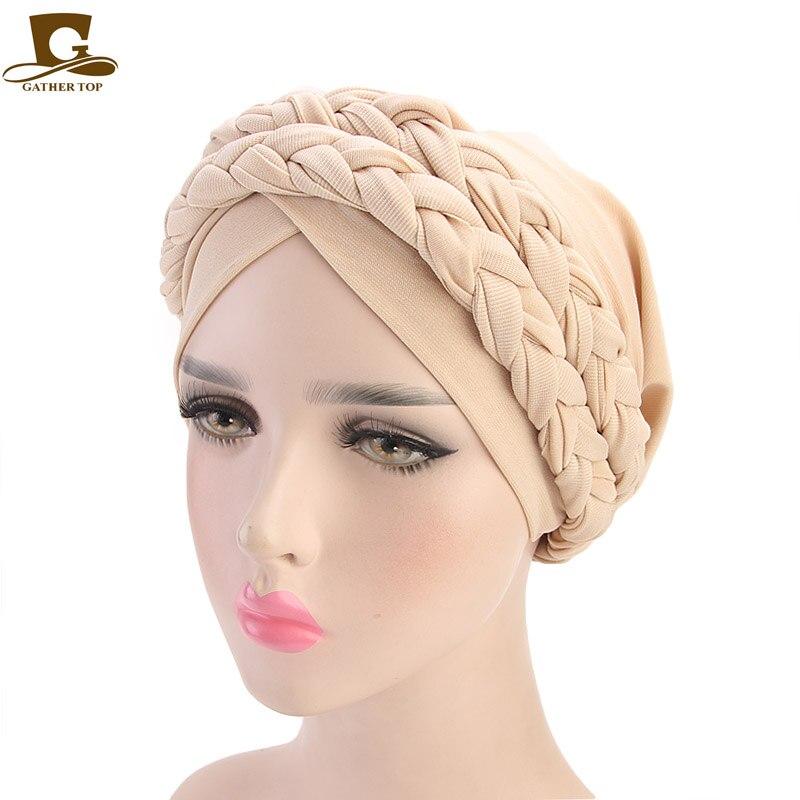 Women's Turban Soft Breathable Double Braid Bohemian Style Fashion Hat Chemo Beanie Hair Cap