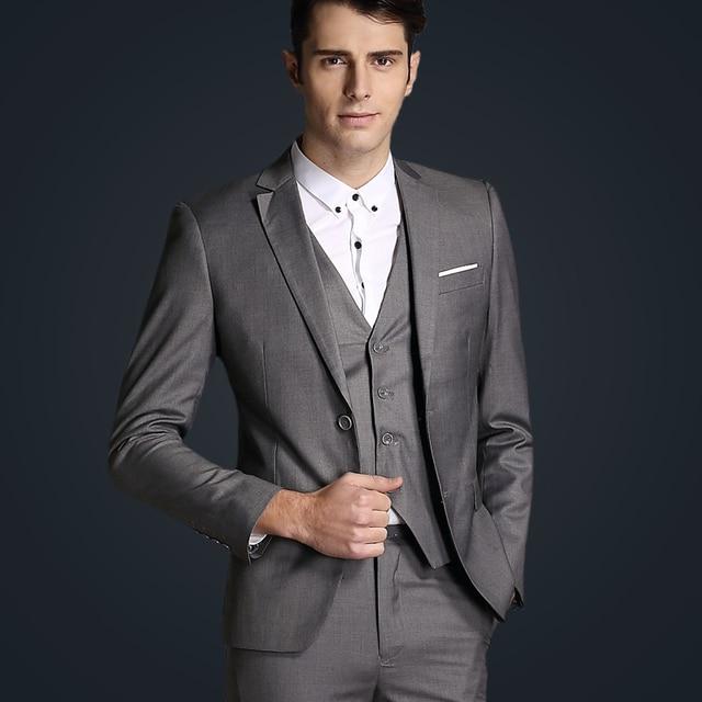 2016 new arrivals Spring hot sale classic pure colors simple blazer men,bussiness slim fit high quality men suit with pants&vest