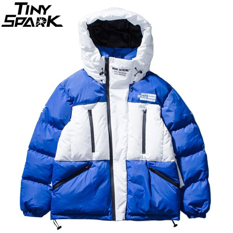 Hommes D'hiver À Capuchon Parkas 2018 Harajuku Hip Hop Épais Vestes Manteau Couleur Bloc Glissière Poches Mode Rembourré Ourwear Streetwear