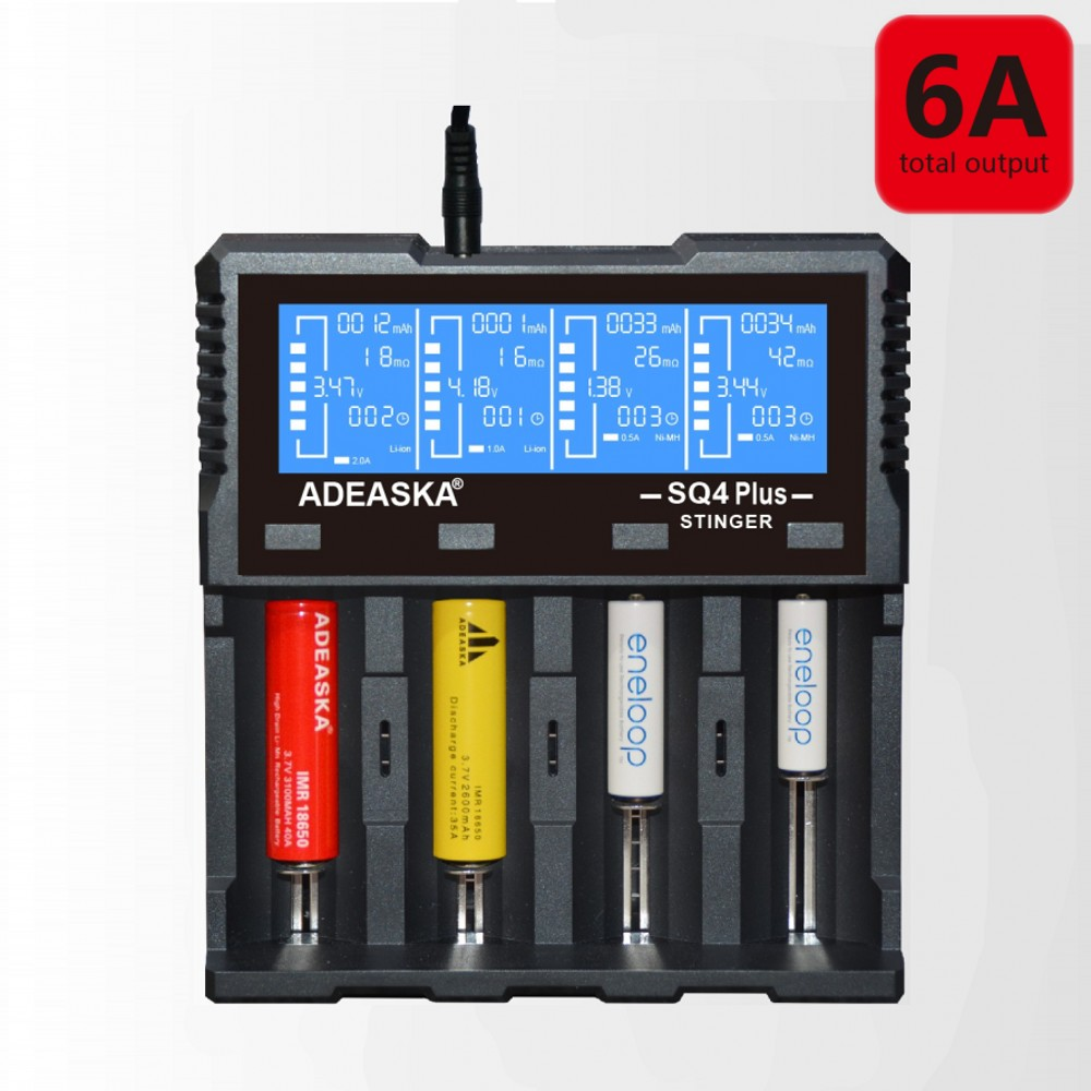 New ADEASKA SQ4 PLUS Intelligent LCD 18650 Battery Charger for 18650 20700 26650 Li-ion/IMR/LiFePO4/Ni-MH Rechargeable Battery 18650 rechargeable lithium lifepo4 battery 1350mah