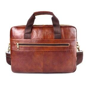 Image 2 - EUMOAN cuir véritable cuir véritable pochette dordinateur sacs à main peau de vache hommes sac à bandoulière hommes voyage marron mallette en cuir