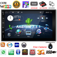 Bosion 7 Android 7.1.1 Quad 4Core Car Multimedia Radio 2DIN GPS Navi Bluetooth SD USB Wifi 4G FMAM Full Touchscreen Free Camera