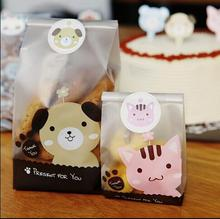 50pcs Lovely Puppy or Kitten Biscuit Bag Cookie Flat bags Food Cake Package Bakery Gift Packaging Baby Shower Favor Souvenir